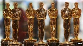 A display of Oscar statuettes