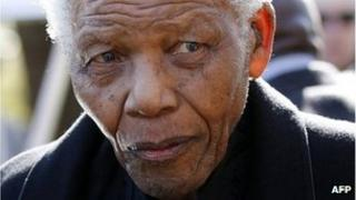 File picture taken on June 17, 2010 shows former Nelson Mandela at the funeral of his great-granddaughter in Sandton, north of Johannesburg