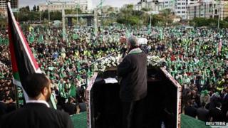 Khaled Meshaal addresses rally in Gaza. 8 Dec 2012