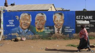 Mural of Nelson Mandela in Soweto, Johannesburg, South Africa, on 9/12/12