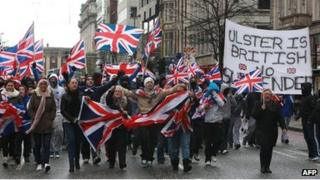 Protesters on way to Belfast City Hall