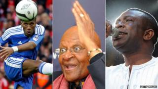 From left to right: Didier Drogba, Desmond Tutu and Youssou Ndour