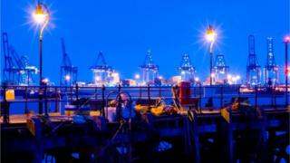 Harwich Ha'penny Pier at night