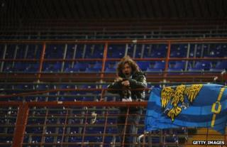 Arrigo Brovedani in the away supporters' end of Sampdoria's stadium