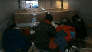 Stowaways in a UK-bound truck at Calais
