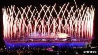 Olympic stadium during opening ceremony