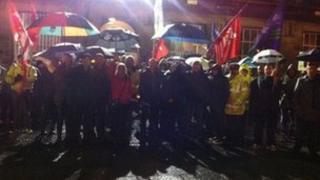 Protesters outside Wallasey Town Hall