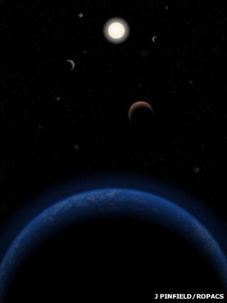 Artists' conception of Tau Ceti solar system
