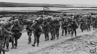 Argentine soldiers in the Falkland Islands
