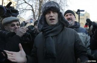 Alexei Navalny at a protest rally in Moscow, 15 December