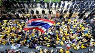 Yellow-shirt anti-government protest in Bangkok in 2008