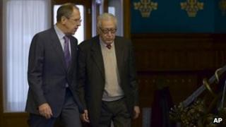 Sergei Lavrov (left) and Lakhdar Brahimi (right)