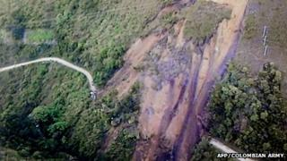 Landslide along Neiva-Florencia road