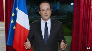 France's President Francois Hollande gives his New Year 2013 address