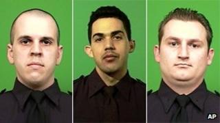 New York City police officers Michael Levay, Juan Pichardo and Lukasz Kozicki
