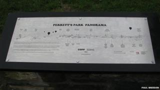The plaque at Perrett's Park