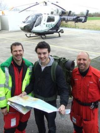 Air Ambulance doctor Paul Ransom (l), Tom Brabham and critical care paramedic Chris Fudge (r) at the helicopter base at Marden in Kent
