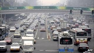 Busy road in Beijing (file image)