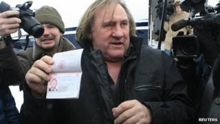Gerard Depardieu arrives in Saransk, Mordovia. 6 Jan 2013