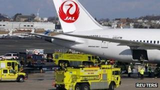 Fire engines surround Boeing Dreamliner in Boston