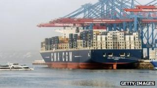 A container ship docked in Hamburg