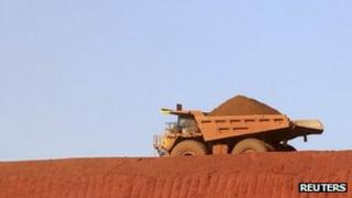 Truck at iron ore mine