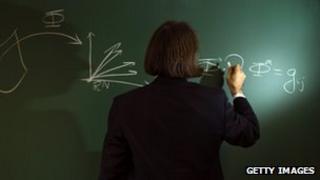 Mathematician writes out formula on a blackboard