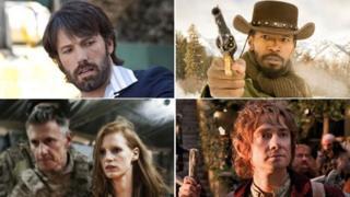 Clockwise from top left: Argo director Ben Affleck; Jamie Foxx in Django Unchained; Martin Freeman in The Hobbit: An Unexpected Journey; a scene from Zero Dark Thirty featuring Jessica Chastain