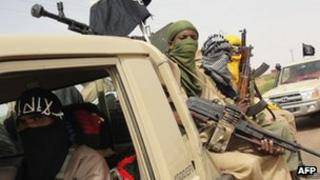 Archive image of fighters from the Islamist group Ansar Dine in northern Mali, August 2012