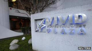 A view shows the sign for pornographic film production company Vivid Entertainment Group