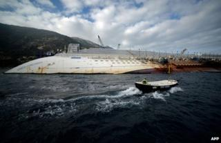 The wreck of the Costa Concordia off the Tuscan coast, 12 January