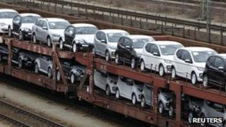 New VW cars on a rail transporter