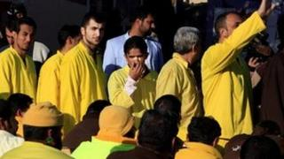 Iraqi prisoners during a release ceremony