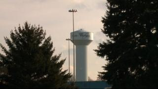 Water tower with Whirlpool logo