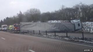 A50 lorry crash