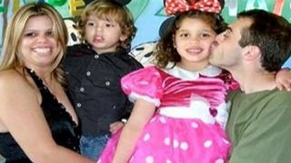 Fire victims Dayana Francisquini, 26, Thais, six, and Felipe, three with their father Rafael Cervi