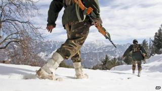 Indian soldiers near the Line of Control in Kashmir on 15/1/13