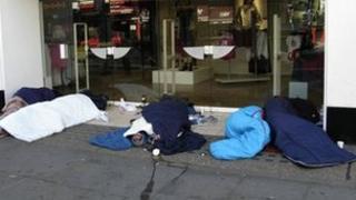 People sleeping on the street