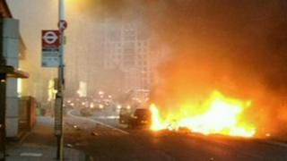 Flaming wreckage