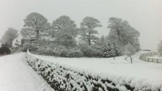 A snowy scene between Menston and Bingley in West Yorkshire