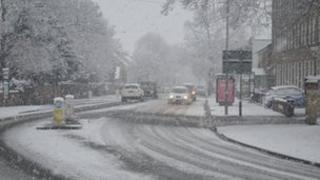 Snowy road in Newport
