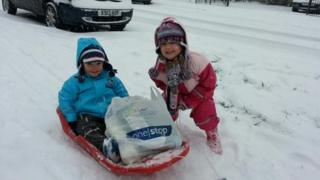 Children take to their sleds in Hungerford