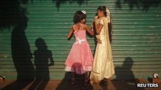 Girls playing at a slum in Mumbai, India
