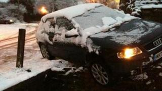 A car which skidded down a steep slope in Whittle le Woods