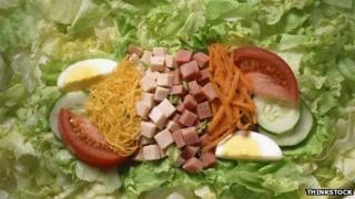 Salad with ham