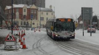 Bus in snow in Hanley