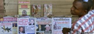 Newspaper stand in Bamako