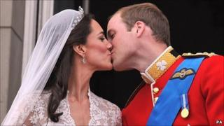 The Duke and Duchess of Cambridge seal their wedding with a kiss