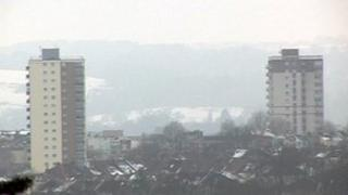 View over Bristol in the snow