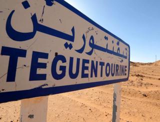 Signpost for gas plant at Tigantourine